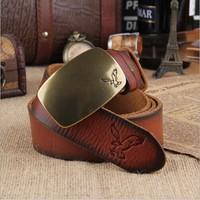 USA Eaglebrass buckle Vintage Belt,100% A grade Full cowhide belt Brand Name For Men , Women Genuine Leather Belt