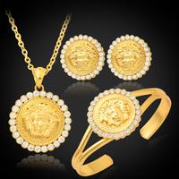 Medusa Lion Head Pendant Earrings Bracelet 18K Gold Plated Austrian Rhinestone Vintage Jewelry Sets Lion Head Jewelry MGC S702