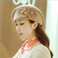 Autumn and winter free shipping NEW hat Wool hat lady's fashion cap Japan's style cap beret with flower  fashion accessories