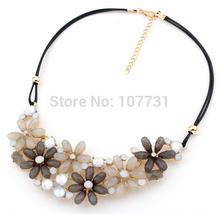 Hot New Fashion Bohemia Flower Rhinestone Necklaces & Pendants Women Crystal Pendant Necklace Fashion Jewelry Free Shipping(China (Mainland))