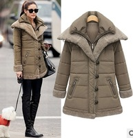 Free Shipping New Original New 2014 cotton-padded clothes autumn winter outwear Fashion Women Medium-long Down jacket C1684