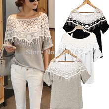 Plus Size S- XXL 2014 de Moda de Nova Tops de Verão Casual Para Mulheres oco Crochet Shawl Collar Lace Blusa Roupa(China (Mainland))