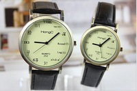 2014 new fashion  personality higher mathematics Korean high-grade students ladies  watch three dial (brown, white, yellow face.