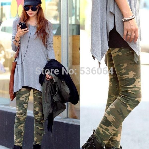 Женские леггинсы  Army Stretch Leggings  32265 trendy off the shoulder long sleeve mini dress for women