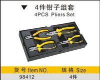 "SunRed BESTIR 4pcs zebra handle 6"" 8"" multi-function combination plier set industry hand tools NO.98412 wholesale freeshipping"