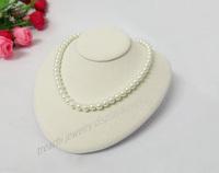 2pcs 18*18.5cm Beige Velvet Bust Necklace Display Stand,Elliptical Pendant Holder Horizontal Props