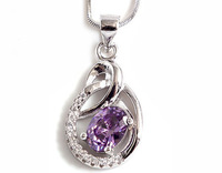 Cubic Zriconia Pendants 100% Guaranteed Genuine 925 Sterling Silver Jewelry With Purple Zircons YH48259