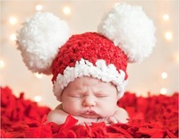 Baby Pom-pom Hat Crochet Knitted Winter Xmas Cap Photography Props Pattern Newborn Toddler Beanie Hat