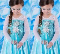 Frozen Elsa DRESS longsleeve with cape extend floor length 2014 Autumn new girls dress, mix over 3 lot  FEDEX to AU/US/CA/EU/RO