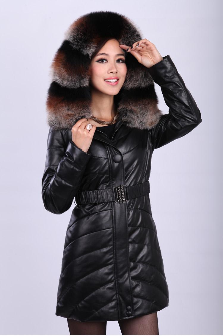 Натуральная кожа пуховик с настоящее роскошные лиса меховой воротник длинный мех кожаная куртка для женщин DHL / EMS бесплатная доставка FP291