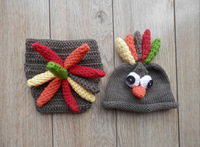 New Animal Style Toddler Turkey Baby Hat with Diaper Cover Set Newborn Photography Props Costume Outfit Crochet Beanie Hat