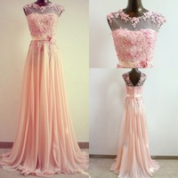 2014 Free Shipping High Neck Coral Bridesmaid Dresses Gown Sleeves See Through Applique A Line Chiffon Prom Party Dress 2014