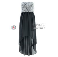 Jacquard sequins splicing chiffon rose split long strapless gown