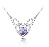 New 18k White Gold Crystal Angel Wings Necklace Heart Necklace Austrian Crystal Necklaces Free Shipping
