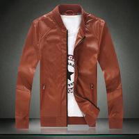 2014 New Arrival men's  zipper design leather jacket men Slim PU leather jacket High quality jacket black/navy 2colors M-3XL