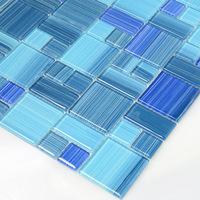 Hot sale mosaic tiles sea blue glass tile backsplash kitchen shower washing room bath counter mosaic art decor mesh 12x12 tiles