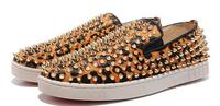 2014   new men fashion Leopard grain leather horse rivets color matching low-cut shoe Flat shoes brown red platform size 38-46