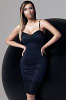 2014 Women summer bodycon dress Sexy Lace Trims Cami Knee Length V-Neck Sleeveless Spaghetti Strap dress B4470