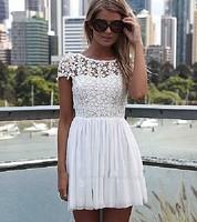 SSNZ8011  European Style Dress Women Hot Dress 2014 Ladies Short Sleeve   Lace Hollow  Dress