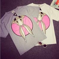 NEW 2014 summer T shirt  sweet rabbit print pattern women's short-sleeve tee women's t-shirt top