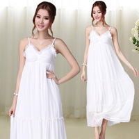 Bohemia white fairy decoration as the elegant chiffon lace spaghetti strap full dress one-piece dress beach dress