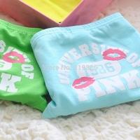 6 pcs/lot Vs women's 100% cotton panties 1986 lipstick print briefs fashion preppy style brief gift box set