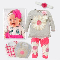 Baby girls clothes suit new autumn winter flowers sunflowers sleeved T-shirt+pants+bib+scarf (5pcs) 2014 children's clothing
