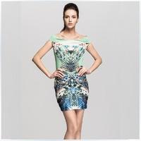 2014 Summer women's new European and American brand abstract pattern slash neck dress pack hip chiffon mini sexy sheath dress