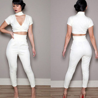 New arrival women Celebrity Bodycon Jumpsuits Two piece Bandage Dress White evening dress Long sleeve Rompers Overalls wholesale