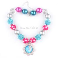 Frozen Chunky Necklace Princess Elsa Pendants Handmade Rhinestone Beads Polka Dot Beads Clear Gumball Beads Free Shipping