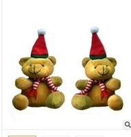 20pcs/lot free shipping Fashion  9cm sat high Christmas Plush Bear Pendant children toy  key pendant party gift wholesale