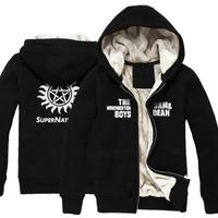 High quality Supernatural SAM DEAN autumn winter Thicken Sweatshirt jacket men boy unisex hoodie coat
