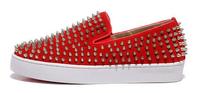 2014 men Fashion genuine leather rivet spring summer south Korean style low-cut shoe Flat shoes platform red Beige size 38-46