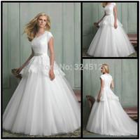 New Modest Sleeves Lace &Tulle Wedding Dress Custom Size Vestido de Noiva Bridal Gown