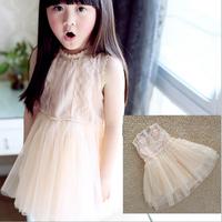 2014 Girls Lace Tulle Sleeveless Summer Dress Children tutu Party Dress Beige Pink Color  5pcs/lot