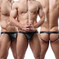 Fashion Sexy Lingerie Men's Underwear Bodysuit Faux  Leather Jockstrap G-Strings&Thongs Trunks T-back Nightwear Free Shipping