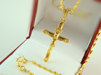 Africa Real 24K Yellow Gold Plated Necklace Blacks Women Men Luxury Jesus Cross Pendant Twisted Rope Chain Jewelry A117