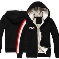 High quality Mass Effect N7 autumn winter Thicken Sweatshirt jacket men boy unisex hoodie coat