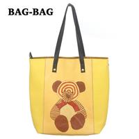 2014 NEW Women GENUINE LEATHER Cartoon Bear Prints Set Shopper Handbag shoulder Shopping bag 100% cowhide Fashion girl B371