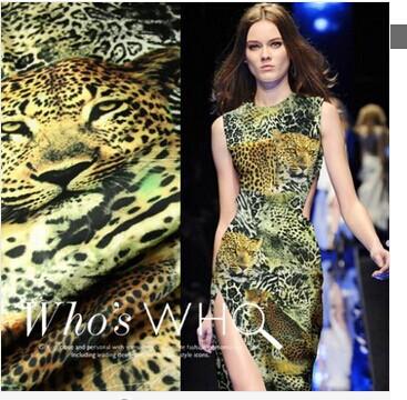 Free shipping digital inkjet printing silk fabric silk stretch satin leopard clothing material width 118cm q088(China (Mainland))