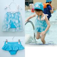 New  Fashion Summer Girl Baby Child Kids Princess Paillette Snow Lace Frozen Elsa Anna Two Piece Bathing Swimsuit Hat H0140734