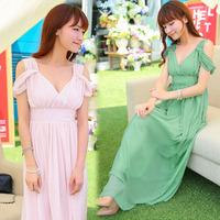 Bohemia elegant sexy strapless silk chiffon beach dress full dress one-piece dress