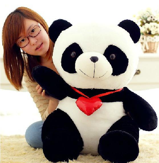 Manufacturers selling love cute panda doll doll plush toys orea black flower the panda(China (Mainland))