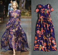 2014 summer autumn silk bohemian maxi dresses women runway  print  flower animal  long party dress short-sleeve o-neck