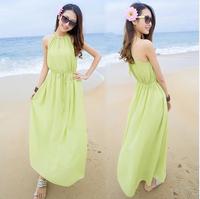 Bohemia V-neck halter-neck one-piece dress chiffon spaghetti strap beach full dress beach dress
