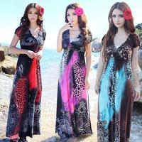 Beach dress bohemia leopard print full dress plus size short-sleeve V-neck one-piece dress female