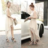 Bohemia dovetail full dress irregular one-piece dress summer chiffon elegant beach dress female tank dress