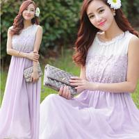 One-piece dress female cutout lace patchwork chiffon full dress holidaying Violet sweet skirt
