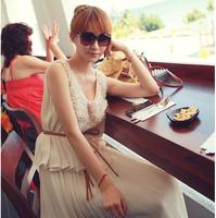 2014 spring and summer beach dress bohemia dress full three-dimensional flower pearl o-neck chiffon one-piece dress