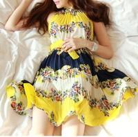 2014 summer one-piece dress chiffon expansion bottom bohemia midguts beach dress halter-neck sleeveless dress